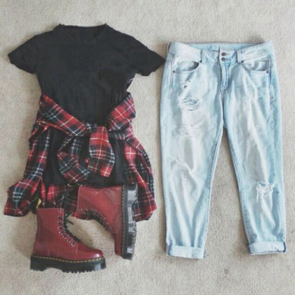 boots t-shirt blouse bottoms jeans denim ripped jeans flannel shirt DrMartens checkered checked shirt grunge torn jeans