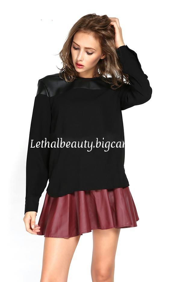 Lethalbeauty ? leather contrast sweatshirt