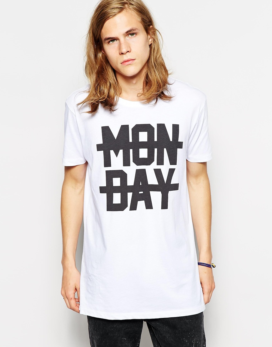 ASOS Longline T-Shirt With Monday Print And Skater Fit at asos.com