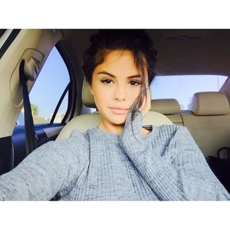sweater selena gomez knitted sweater beautiful fashion style clothes outfit grey