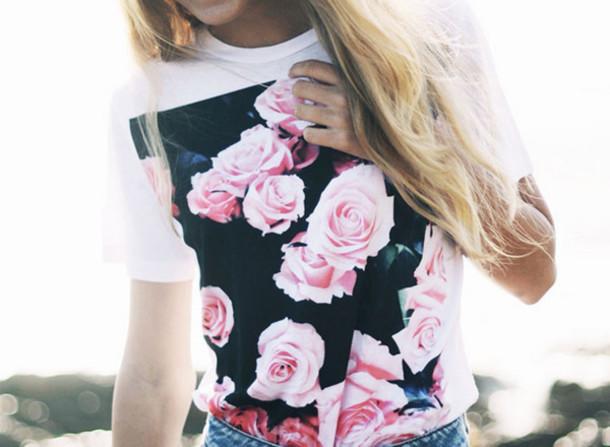 Floral Roses Tumblr Tumblr Girl Floral T-shirt