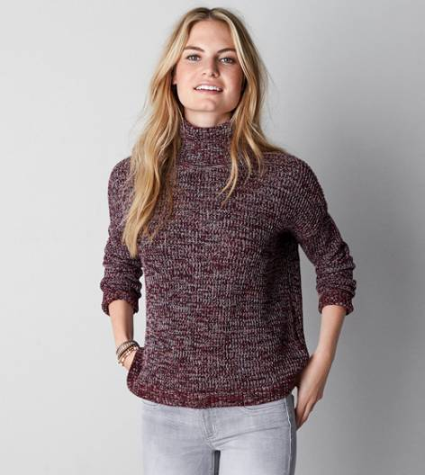 AEO Heathered Turtleneck Sweater, Burgundy | American Eagle Outfitters