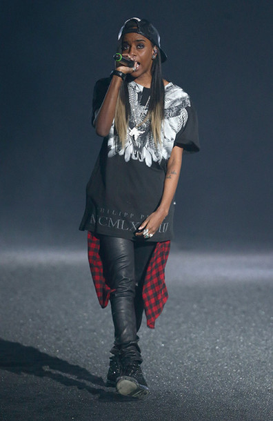 mcm paris plaid boots red and black art trill dope rapper tour slay ombre hair shirt red and black plaid leggings snapback snapback snapback cap oversized t-shirt angel haze fashion fashion killa studded shoes