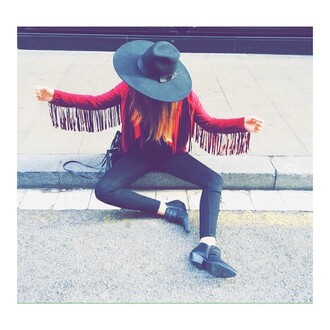 black jeans jacket ankle boots hat fringed jacket red jacket