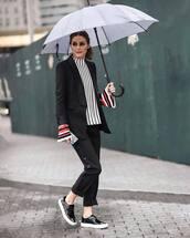 pants,striped pants,cropped pants,black pants,sneakers,striped top,black blazer,umbrella