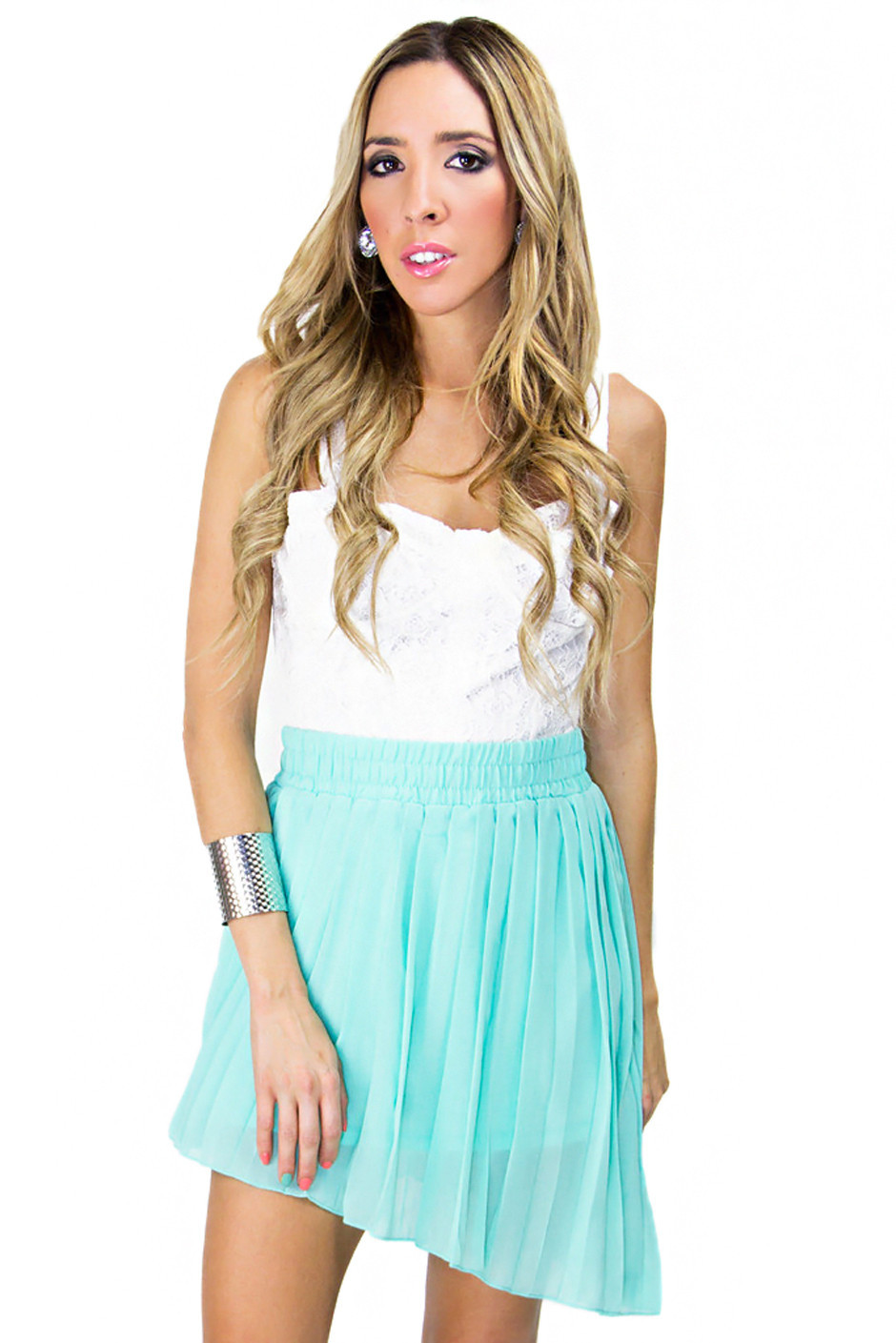 pleated high low skirt turquoise haute rebellious