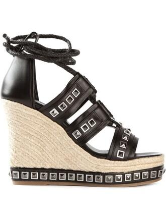 studded sandals wedge sandals black shoes