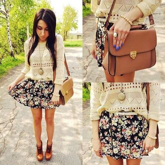 skirt floral spring lookbook top spring outfits