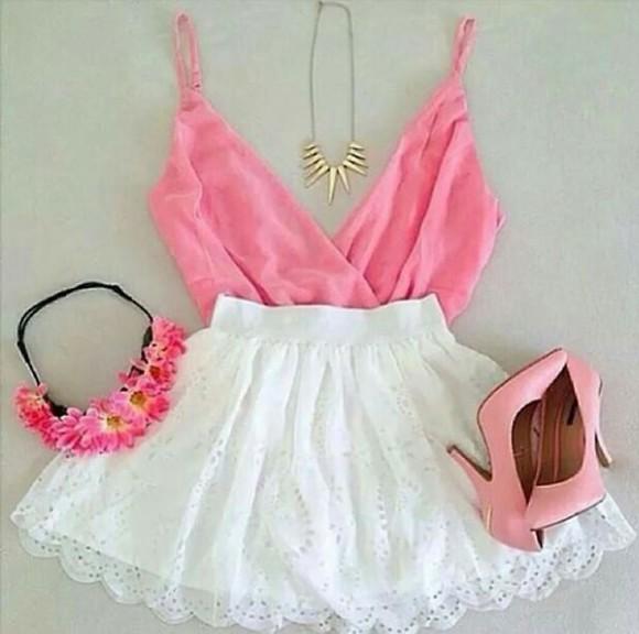 headband blouse high heels floral necklace pink white dress t-shirt