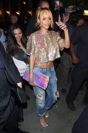 blouse,jeans,bag,metallic clutch,top,rihanna sparkly top