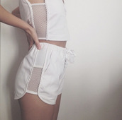 jumpsuit,two-piece,white shorts,white top,shorts,mesh top,mesh crop tops,mesh shirt,mesh cropped top,white crop tops,summer outfits,white outfit,slim fit,romper,white,white on white,mesh,white mesh top