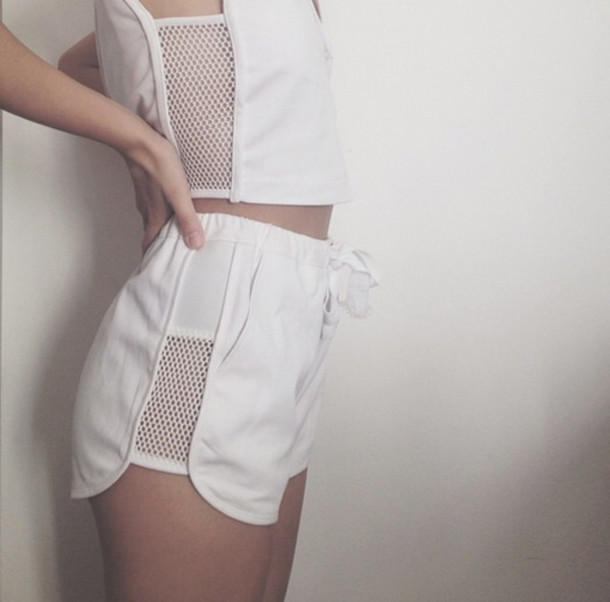 jumpsuit two-piece white shorts white top shorts mesh top mesh crop tops mesh shirt mesh cropped top white crop tops summer outfits white outfit slim fit romper white white on white mesh white mesh top