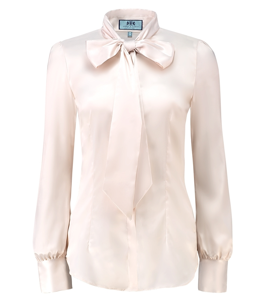c4db7d9252a5 Women's Cream Fitted Luxury Satin Blouse - Pussy Bow | Hawes and Curtis