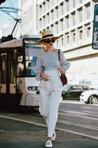pants hat tumblr white pants shoes flats top polka dots puffed sleeves sun hat sunglasses
