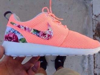 shoes nike running shoes neon orange and floral roshe runs
