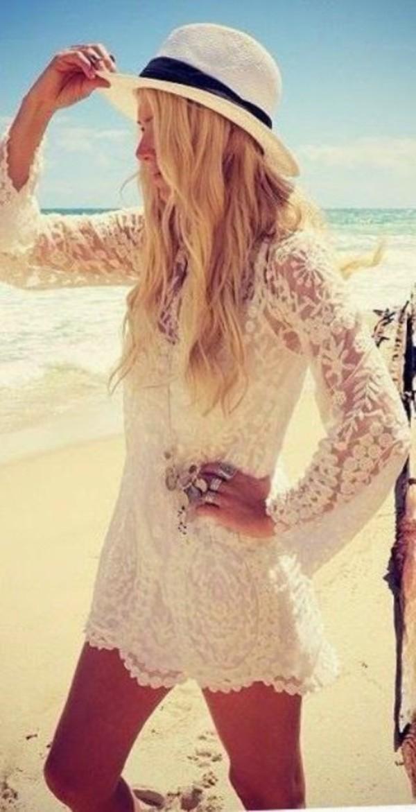 dress summer cover up white white dress beach beach dress crochet beach wedding dress hat