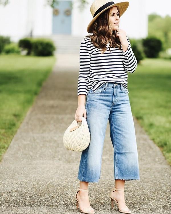 80594ab9727e0 top hat tumblr stripes striped top denim jeans denim culottes culottes bag  basket bag sandals sandal