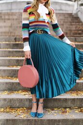 skirt,tumblr,midi skirt,blue skirt,teal,pink bag,bag,round bag,gucci belt,logo belt,pleated skirt,pleated,stripes,striped sweater,sandals,sandal heels,high heel sandals,velvet,velvet shoes,velvet sandals