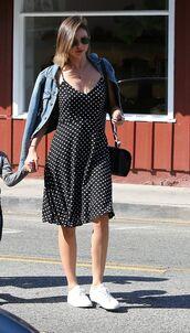dress,midi dress,polka dots,summer,summer dress,denim jacket,jacket,sneakers,sunglasses,miranda kerr