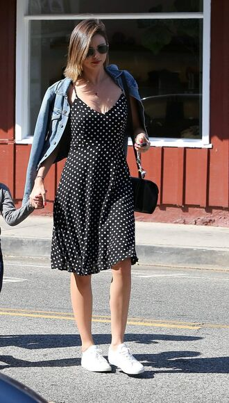 dress midi dress polka dots summer summer dress denim jacket jacket sneakers sunglasses miranda kerr
