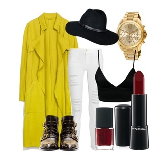 black yellow boots chloé zara trench coat mac lipstick lemongrass