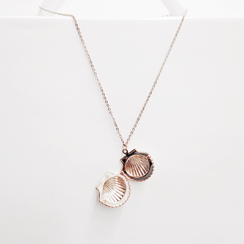 Rose Gold Seashell Locket Rose Gold Locket Necklace Locket