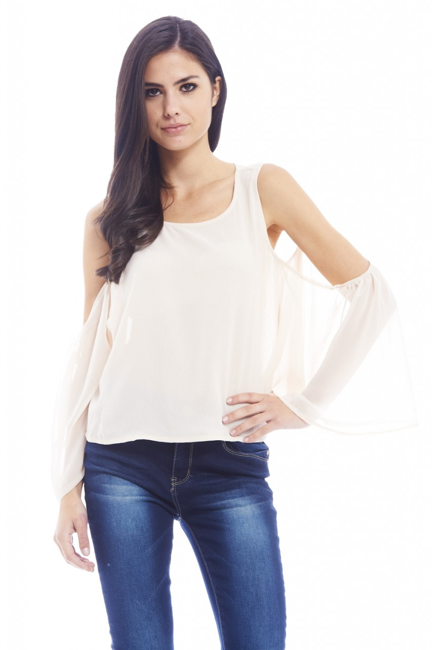 Champagne Chiffon Floaty Cut Out Shoulder Top