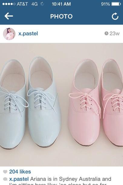 shoes pastel pretty blue pink cute laces
