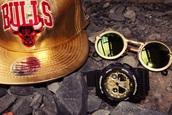 hat,gold,g-short,glasses,snapback