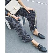 shoes,tumblr,gucci,gucci shoes,gucci princetown,black shoes,pants,printed pants,bag,nude bag,sunglasses,miu miu,wide-leg pants,stripes,striped pants,furry shoes