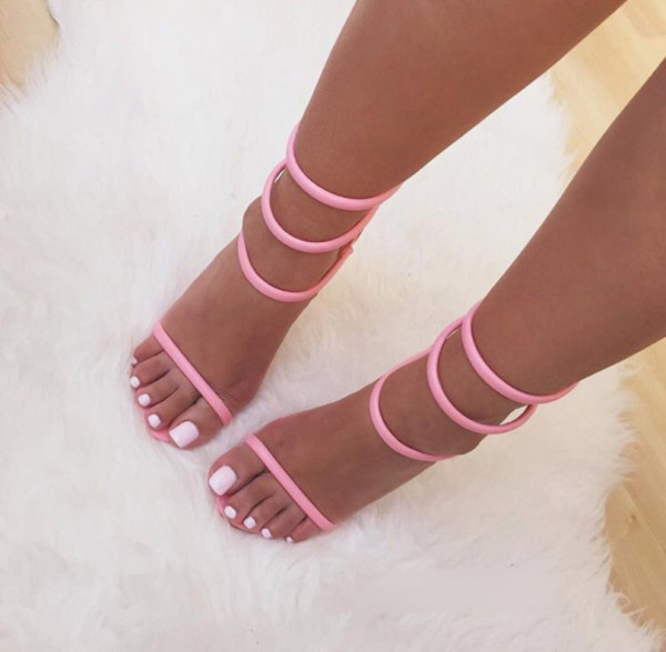 shoes high heels heels pink pink shoes pink heels high heels cute high heels pink high heels high heel sandals fashion high heel heel strappy heels strappy pink strappy heels pink strappy cute pretty tassel necklace pink tassel bracelet