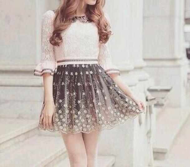 dress vintage dress lace grey dress ivory dress short dress skirt skirt patterned ombre flowers