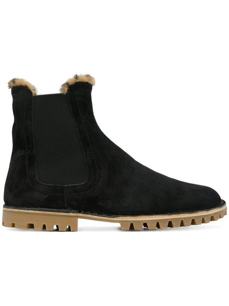 fur women chelsea boots suede black shoes