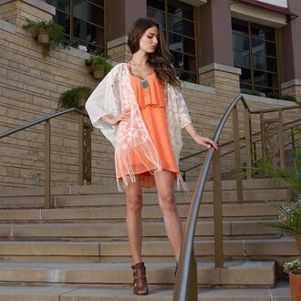 dress angl orange neon ruffle ruffle dress chiffon chiffon dress lace kimono fringes summer teal summer outfits summer dress outfit outfit idea boho boho chic lookbook