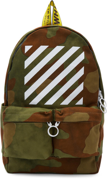 Off-White camouflage backpack green bag