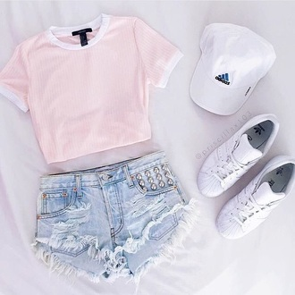 shirt pink cropped tee stripes shorts adidas denim shorts studded shorts crop tops t-shirt pink shirt twitter cute stylish tight blue jeans pink top cap sneakers tumblr hipster skirt