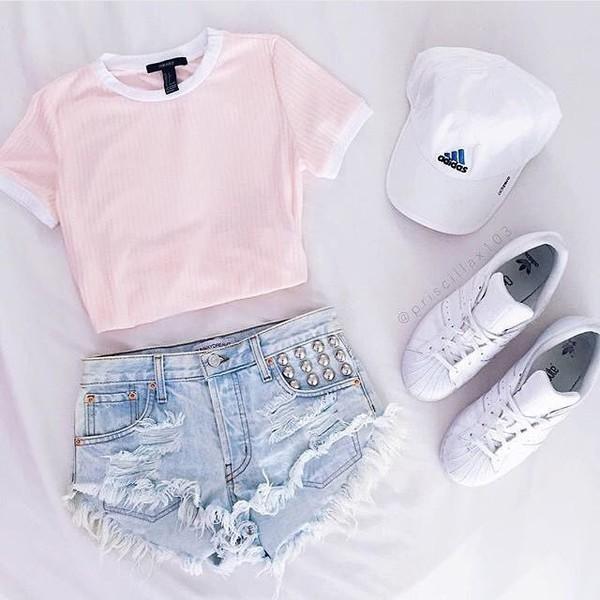 Shirt Pink Cropped Tee Stripes Shorts Adidas Denim