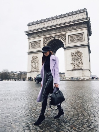 coat lilac coat lilac pants leather pants black pants black leather pants boots black boots sweater black sweater hat