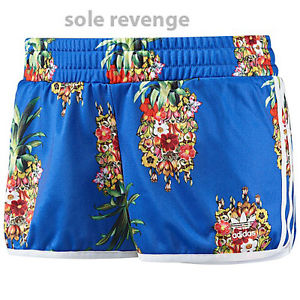 New! adidas Originals FRUTAFLOR Shorts Blue Pineapple Flowers Brazil FARM