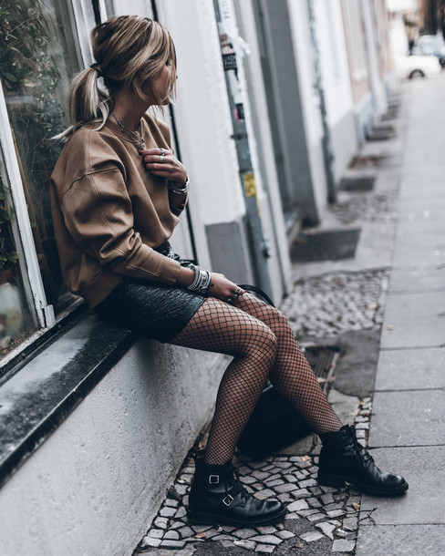 mikuta blogger skirt sweater shoes bag jewels beige sweater mini skirt fishnet tights ankle boots