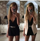 romper,black,spaghetti strap,plunge v,shorts,dress,black playsuit,strappy dress,crossover,black dress,deep,deep v dress,deep v play suit,style,blogger