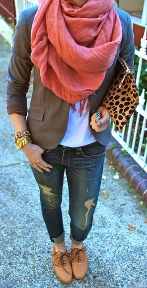 fall outfits jacket jeans oversized scarf cheetah print clutch leopard print white t-shirt ripped jeans distressed jeans army green jacket military gold jewelry pink scarf cheetah is the new black FALL FASHION white brown