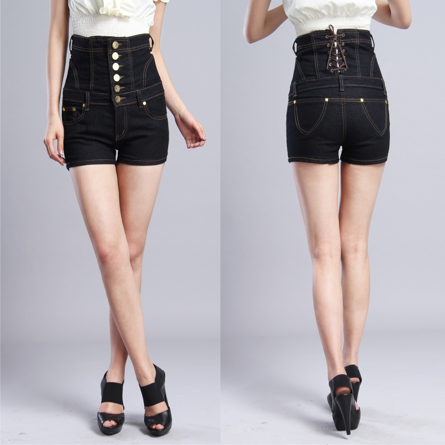 Black Jean High Waisted Shorts - Jeans Am