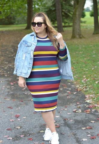 mommyinheels blogger jacket dress shoes sunglasses plus size denim jacket striped dress fall outfits sneakers