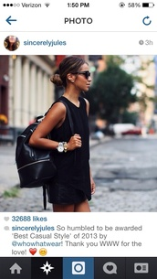 cute dress,dress,black,shift dress,casual,blogger,leather backpack,watch,sunglasses