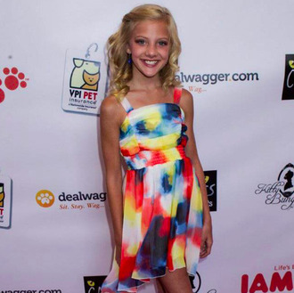 dress cats on cats event paige hyland dance moms nordstrom color splash colorful patterns colorful multicolor high-low dresses coral dress blue dress yellow dress pretty