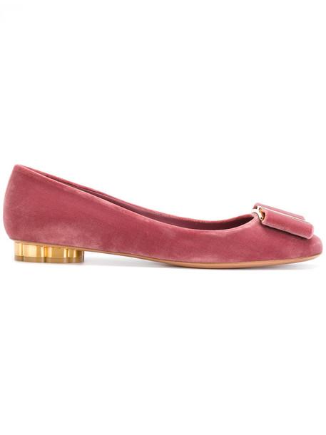 Salvatore Ferragamo bow women shoes leather velvet purple pink