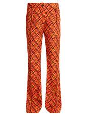 print,tartan,orange,pants