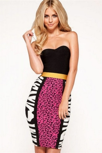 dress bandage pink animal pink and black wots-hot-right-now bandage dress pink dress animal print off the shoulder celebrity style celebstyle for less pink skirt zebra print bodycon dress sexy party dresses party dress trendy chic