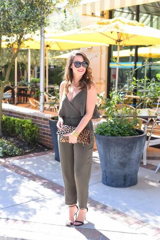 live more beautifully blogger jumpsuit shoes jewels make-up animal print clutch khaki jumper